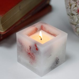 Enchanted Candle – Small Square Jar – Rose