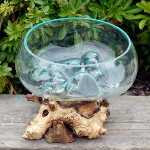 Molten Glass on Wood – Open Large Bowl