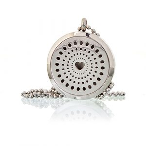Aromatherapy Diffuser Necklace – Diamonds Heart 30mm