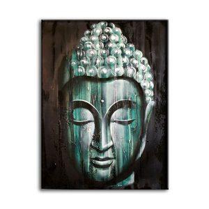 Wood Buddha Green  – Painting