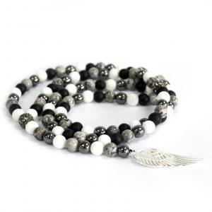 Angel Wing / Grey Agate – Gemstone Necklace