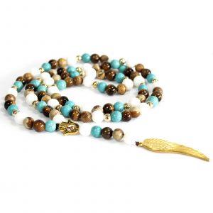 Angel Wing / Multi Beads Gemstone Necklace