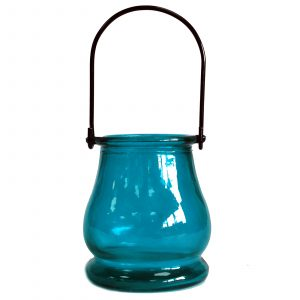 Recycled Candle Lantern – Teal