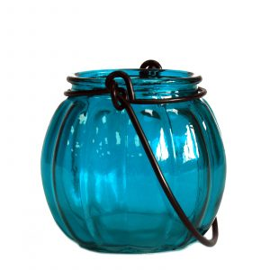 Recycled Pumpkin Candle Lantern – Teal