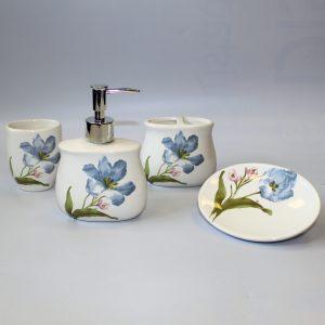 Ceramic Bath Set – Blue Lilies