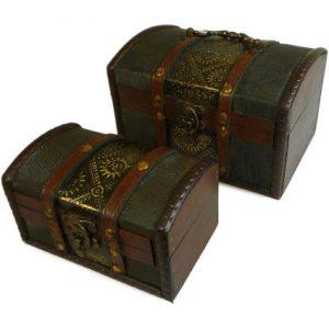 Set of 2 Colonial Boxes – Metal Embossed