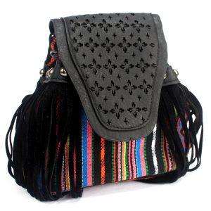 Venetian – Black Stripy With Fringe