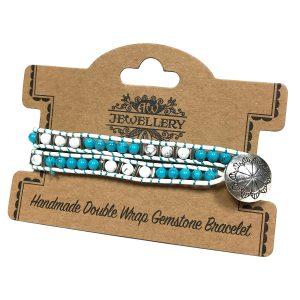 Double Wrap Bracelet -Turquoise & White Agate