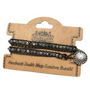 Double Wrap Bracelet -Grey Stone & Mini Globes