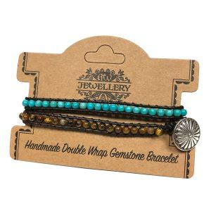 Double Wrap Bracelet -50/50 – Turquoise & Tiger Eye