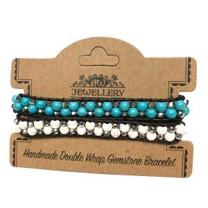 Double Wrap Bracelet – 50/50 – Turquoise & White Agate