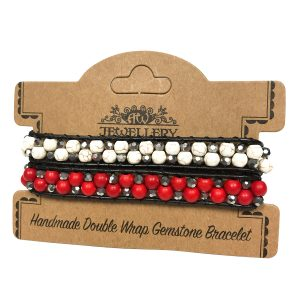 Double Wrap Bracelet – 50/50 Rubystone & White Agate