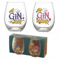 Gin the Mood Set of 2 Glass Tumblers – Gin Slogans