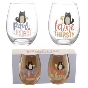 Set of 2 Glass Tumblers – Feline Fine Cat Decal