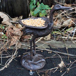 Cast Iron Bird Feeder – Stork – Natural