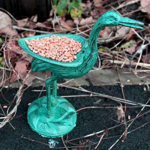 Cast Iron Bird Feeder – Stork – Verdigris