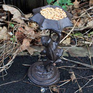 Cast Iron Bird Feeder – Frog – Natural