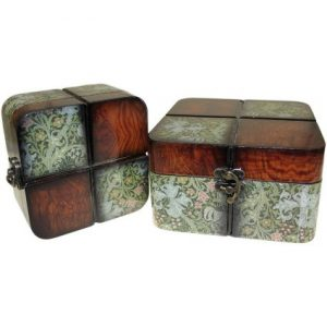Set of 2 Boxes – Small Walnut Floral