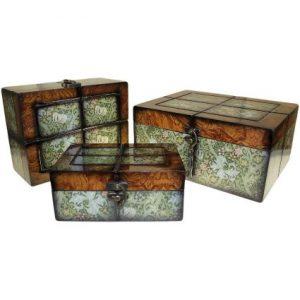 Set of 3 Boxes – Lrg Walnut Floral