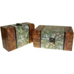 Set of 2 Boxes – Med Walnut Floral