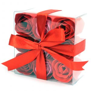 1x Set of 9 Soap Flowers – Red Roses