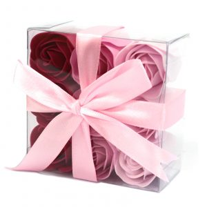 1x Set of 9 Soap Flowers – Pink Roses