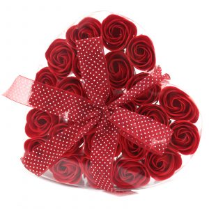 1x Set of 24 Soap Flower Heart Box – Red Roses