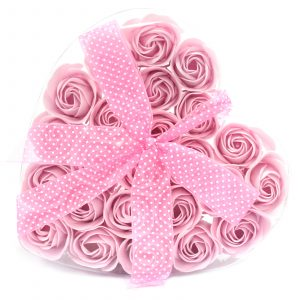 1x Set of 24 Soap Flower Heart Box – Pink Roses