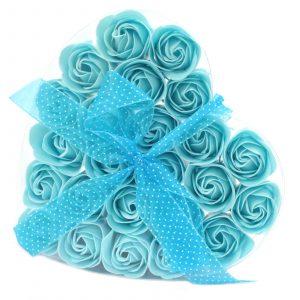 Set of 24 Soap Flower Heart Box – Blue Roses