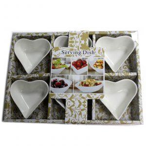 Set of Six Heart Shape Olive Dishes