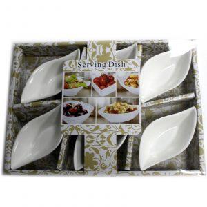 Set of Six Olive Shaped Olive Dishes