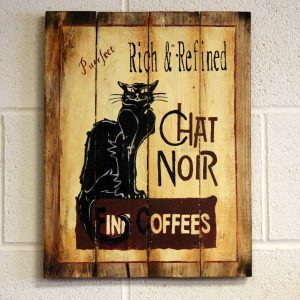 Wooden Coffee Sign – Chat Noir