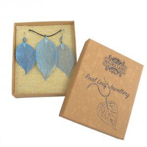 Necklace & Earring Set – Bravery Leaf – Blue