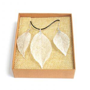 Necklace & Earring Set – Bravery Leaf – Silver