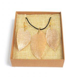 Necklace & Earring Set – Bravery Leaf – Gold