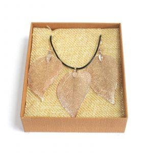 Necklace & Earring Set – Bravery Leaf – Pink Gold
