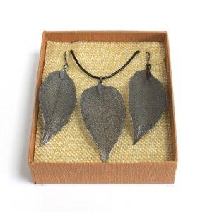 Necklace & Earring Set – Bravery Leaf – Pewter