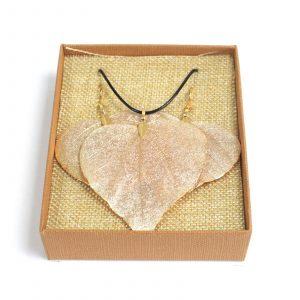 Necklace & Earring Set – Heart Leaf – Gold