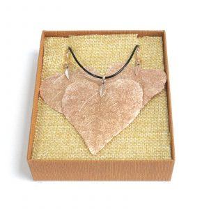 Necklace & Earring Set – Heart Leaf – Pink Gold