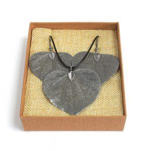 Necklace & Earring Set – Heart Leaf – Pewter