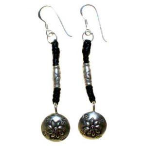 Black Waxed & Silver Flower Earring