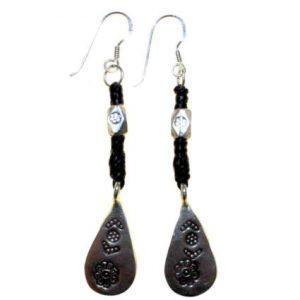 Black Waxed & Silver Drop Earring