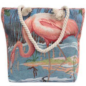 Rope Handle Bag – Pink Flamingo