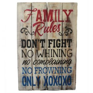 Rough Wooden Sign – Family Rules