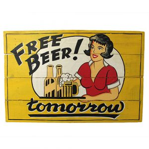 Rough Wooden Sign – Free Beer
