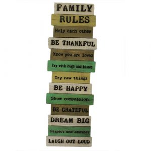 Rough Wooden Signs – Big Family Rules