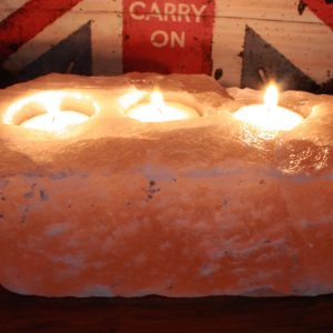 Natural Salt Candle Holder – 3 holes