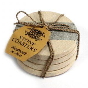 Set of 4 Stone Coasters – Round – Stripe 9cm