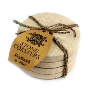 Set of 4 Stone Coasters – Round – Simple Sandstone 9cm