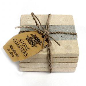Set of 4 Stone Coasters – Square – Stripe 9cm